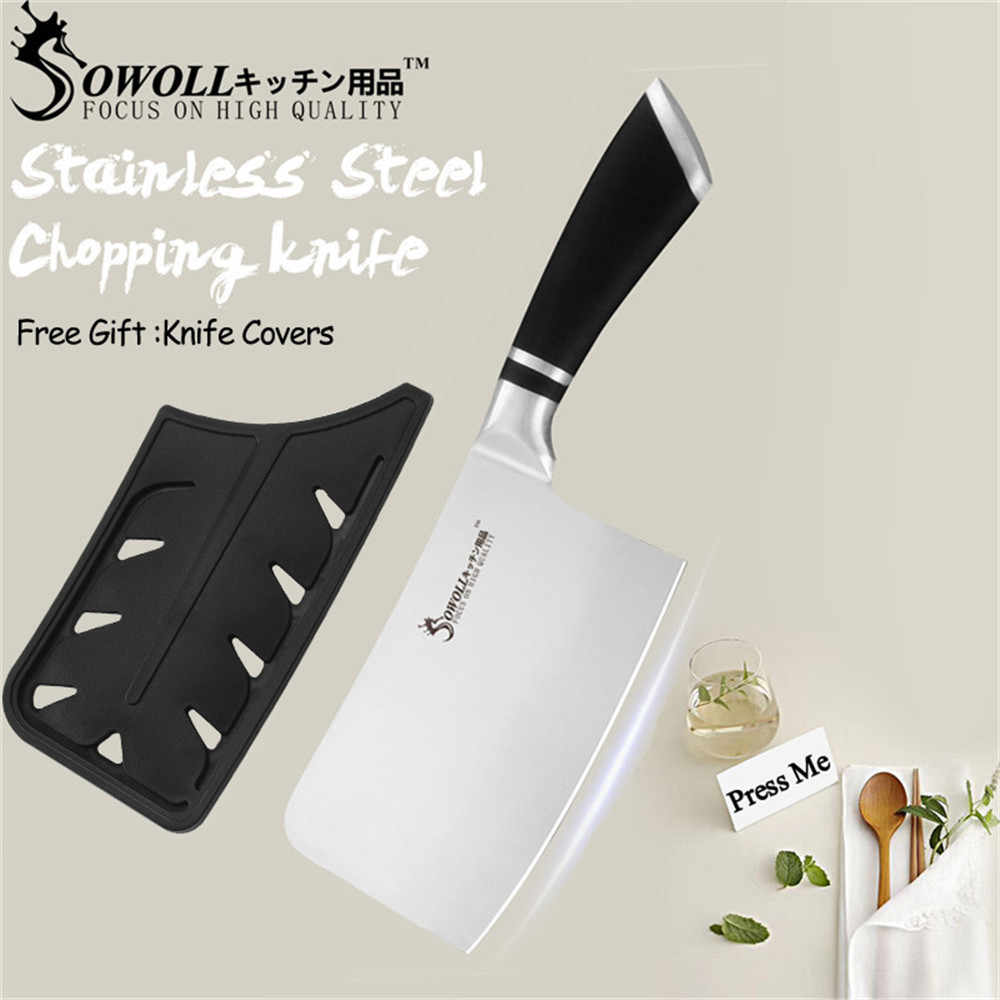 SOWOLL Kitchen Cleaver Knife High Carbon Stainless Steel Knives Butcher Chopper Cleaver 6 inch Stainless Steel Chopping Knife