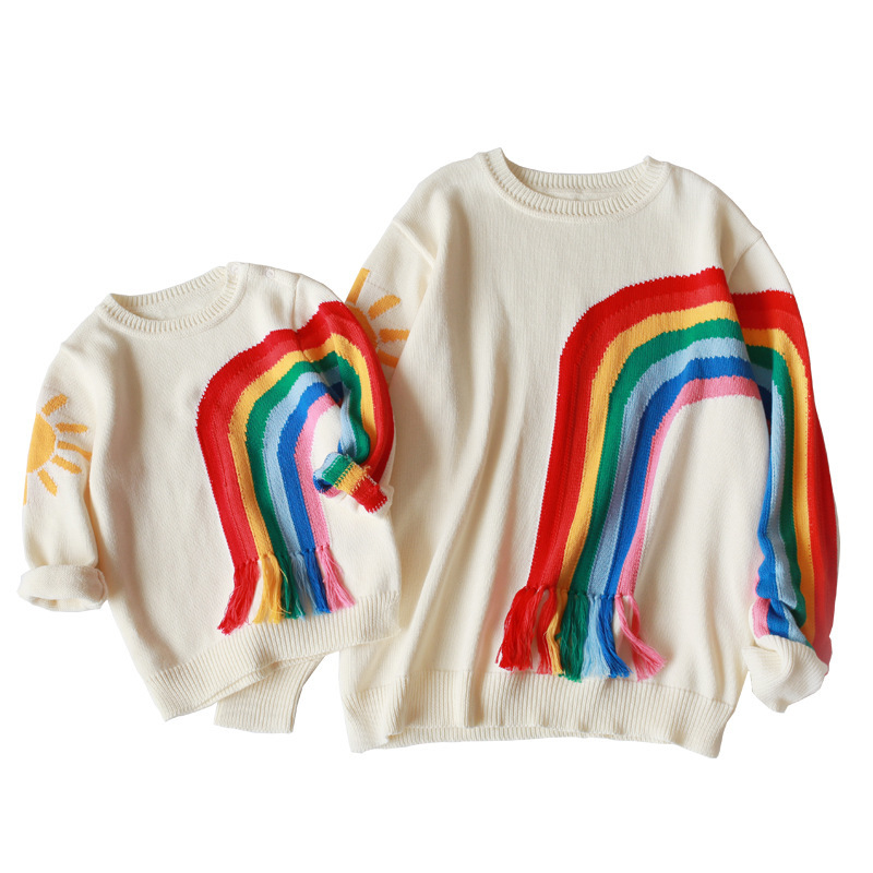 Family Sweater Matching Mother And Daughter Clothes Rainbow Knit Sweater Fashion Girls Clothes Family Look Costume цена