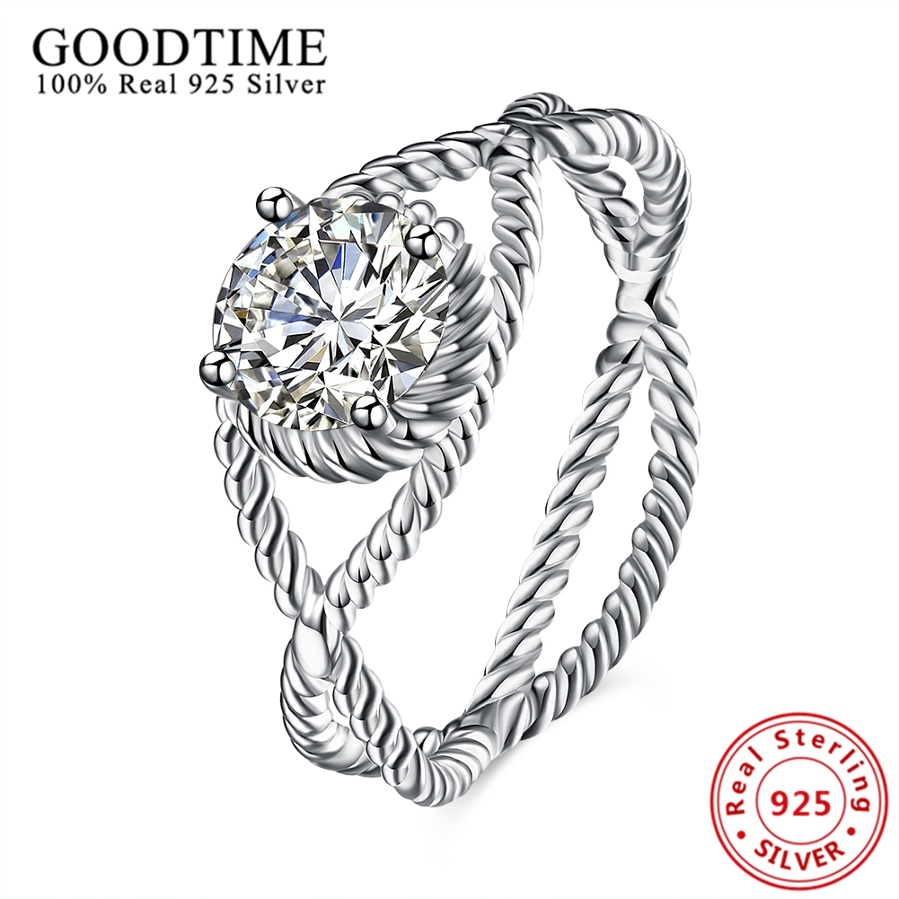 Real Solid Silver Jewelry 925 Sterling Sliver Rings Curve Line Crossed Rope Shape AAA Zircon Finger Rings For Women Party Gifts