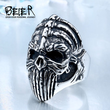 BEIER New Store 316L Hot Sell 316LStainless Steel Winged Skull Cool Punk Ring Biker Vintage Man`s Jewelry BR8-412(China)
