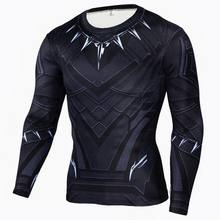 Black Panther Costumi Cosplay Uomo T-shirt manica lunga America Guerra civile Tee Costumi adulti per Halloween Compressione maschile Top