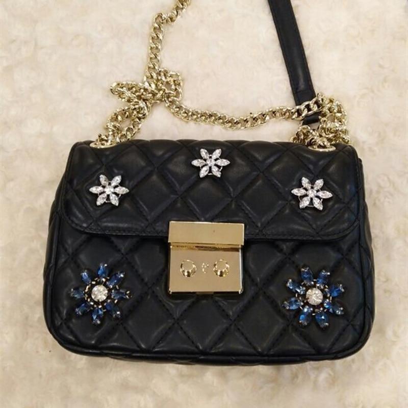 2017 New Fashion Women Diamond Lattice Chains Handbags Lady Genuine Leather Bags Woman Black Hand Bag Messenger Sheepshin Bags карабин black diamond black diamond rocklock twistlock