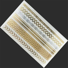 1pc New Temporary gilded Color Tattoo Gold Flash Tattoos Diamond Necklace Inspired Jewelry Paper sticker tatoo diy