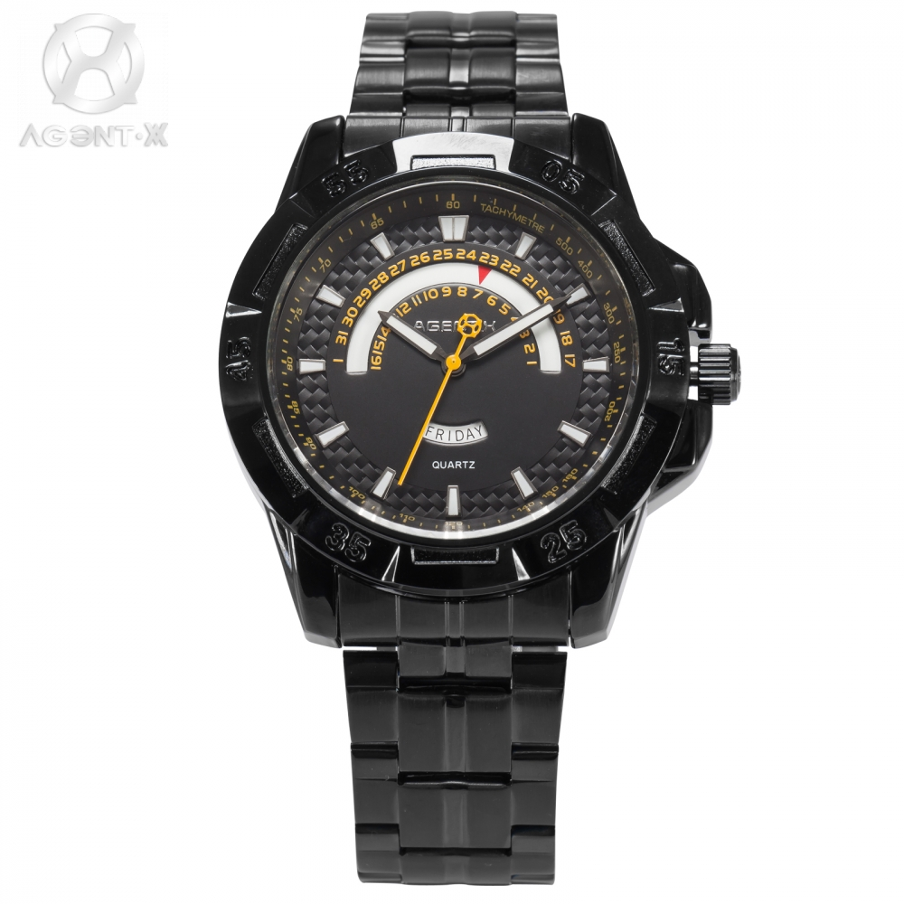 AGENTX Brand Men Watches Calendar Day Date Display Analog Clock Full Steel Strap Band Wrist Quartz Casual Watch Gift Box /AGX103 80cm chain rome retro double display hollow pocket watch fob watches men necklace quartz watch men s watches grandpa letter gift