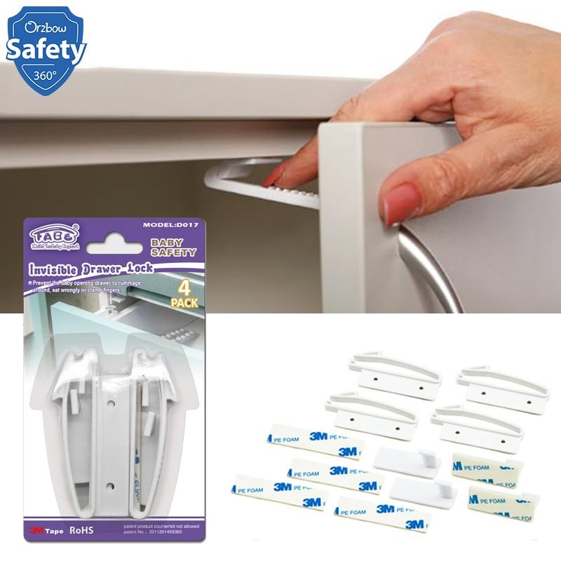 4Pcs Baby Child Protection Kids Fridge Drawer Lock Cupboard Cabinet Door Safety