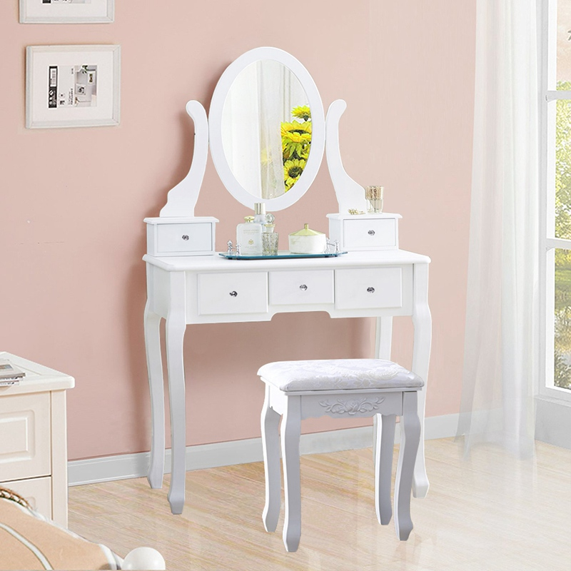 Wooden Dressing Table Makeup Desk With Stool Oval Rotation Mirror 5