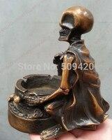 Китайская античная бронзовая статуя, скульптура черепа