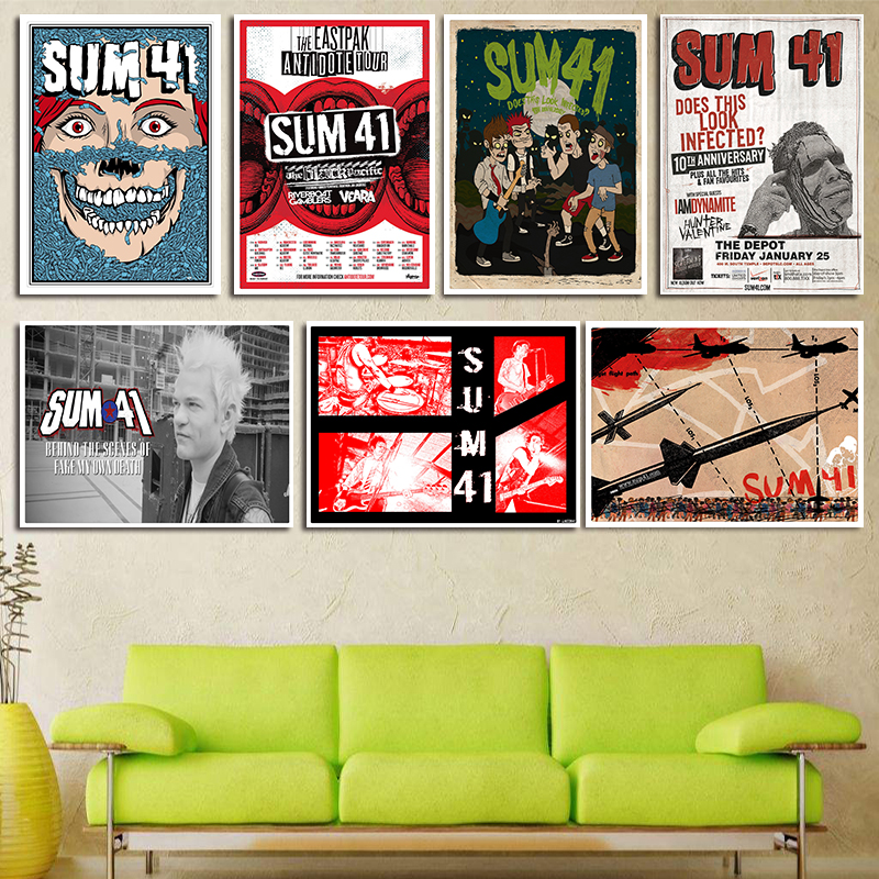 Sum 41 Poster Rock & Roll White Kraft Paper Poster Bar Decorative Painting Core Student Hostel Gift
