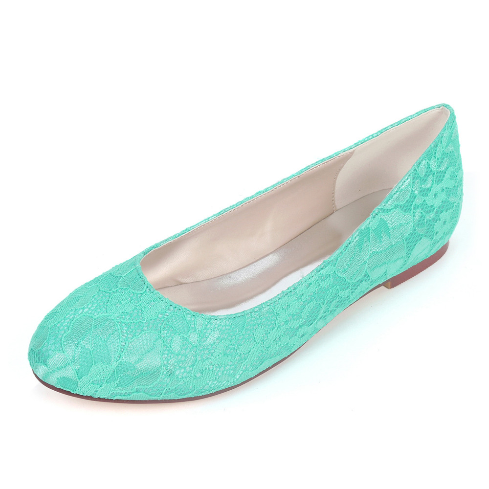 3f06a0e8e1db Creativesugar elegant lace rounded toe lady flat shoes bridal wedding party  prom flats mint green turquoise