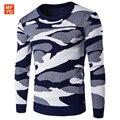 Suéteres de Los Hombres 2016 Otoño Invierno hombres Del Ejército de camuflaje Ocasional Pullover Kintwear Moda Gruesas hombres Suéter Homme Tirón