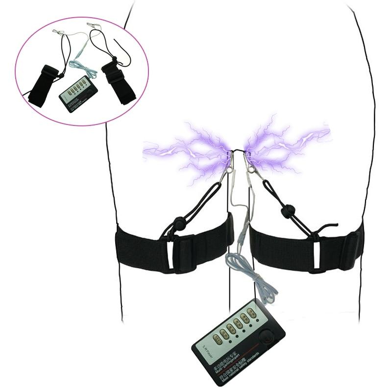 Electric Shock Clit Nipple Clip Vibrator Pussy Labia Nipple Clamp Masturbation Vibrating Bondage Leg Sex Belt For Women Sex Toys