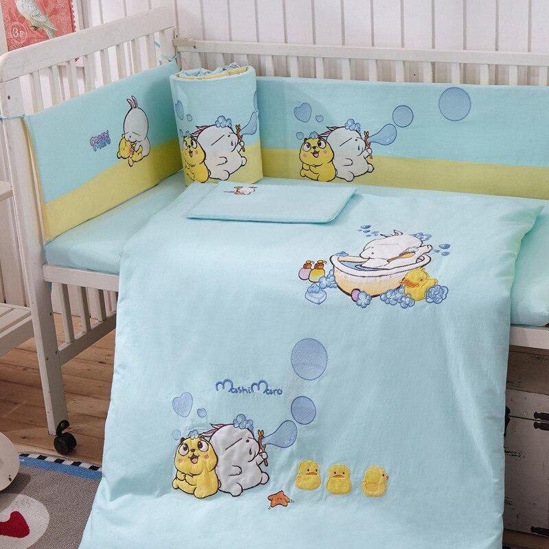 Haute qualité Cartoon coton bébé lit réglage Kits de lit infantile 7 pièces Newbore drap de lit, oreiller, pare-chocs, couvre-lit, couverture de couverture