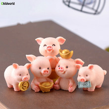 2019 Fairy Garden Party Cute Resin Pig Decoration Miniature Statue Home Accessories Mini Animal Crafts