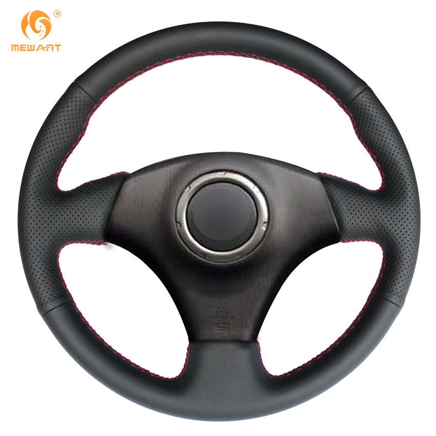 MEWANT Black Genuine Leather Steering Wheel Cover for Toyota RAV4 2003-2005 Celica 2003 Caldina 1995-2002  Lexus IS200 300 runba ice silk steering wheel cover sets with red thread