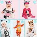 Outono Romper Do Bebê Tigre Panda Leite Vaca Bonito New Adorável Bebê Infantil Meninos Meninas Playsuit Romper + Hat Roupas Traje animais 6 M-24 M