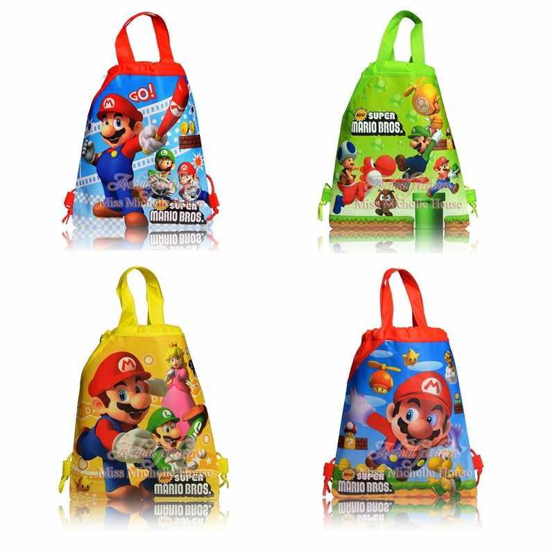 24 pçs super mario tema não-tecido tecidos drawstring mochila para crianças festa de aniversário favor presente saco