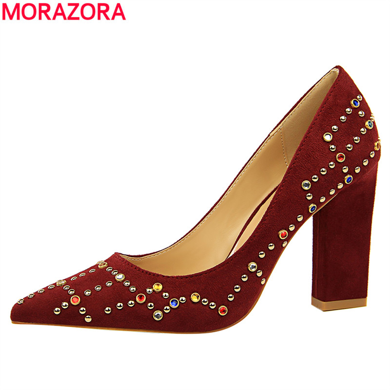 MORAZORA new arrival flock square heels shoes woman fashion elegant work shoes pointed toe women pumps solid big size 34-39 2016 new arrival elegant pointed toe flats for women casual brand shoes woman flats fashion flock boat shoes free shipping