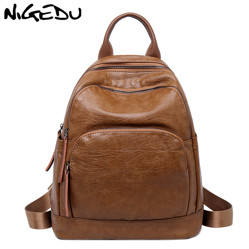 NIGEDU Women Backpack Genuine Leather School Bags For Teenagers college Backpacks female travel bag Mochila bookbag bagpack bao image