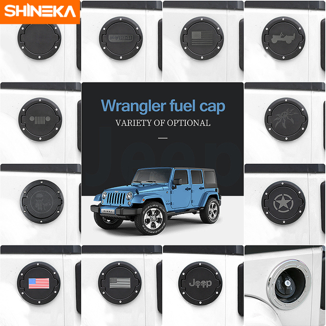 Shineka Fuel Tank Cover Gas Door With Ring Oil Cap Fit For 2 4 Doors Jeep Wrangler Jk