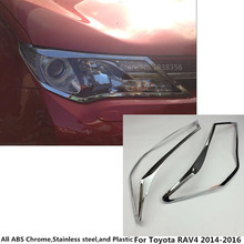 High quality For Toyota RAV4 2014 2015 2016 Car body front head Light lamp hood Molding frame stick ABS Chrome cover trims 4pcs