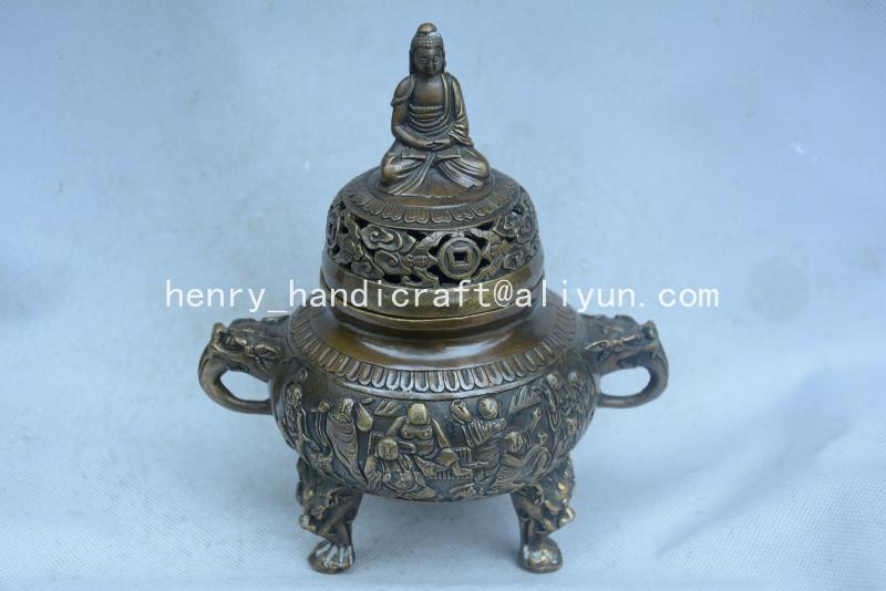Antique QingDransty brûleur d'encens en laiton, Statue de bouddha, décoration, Collection et parure, livraison gratuite