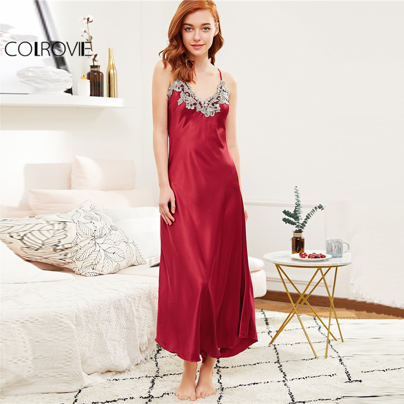 COLROVIE 2018 Red Embroidery Sleeveless Nightgowns Women Contrast Crochet Trim Satin Cami Sexy Maxi Dress Ladies Plain Sleepwear