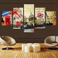 Foto Canvas Art muurschildering 5 stuk Retro Londen Grote Afbeelding Abstract canvas home decoratie op de room Doek