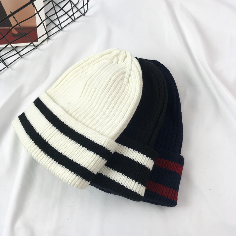 91fea664f0efd 2018 Knitted Wool Hat Men s Skullies Hat Bonnet Winter Beanie Plus Velvet  Cap Thicker Stripe Skis Sports Beanies Hats for men