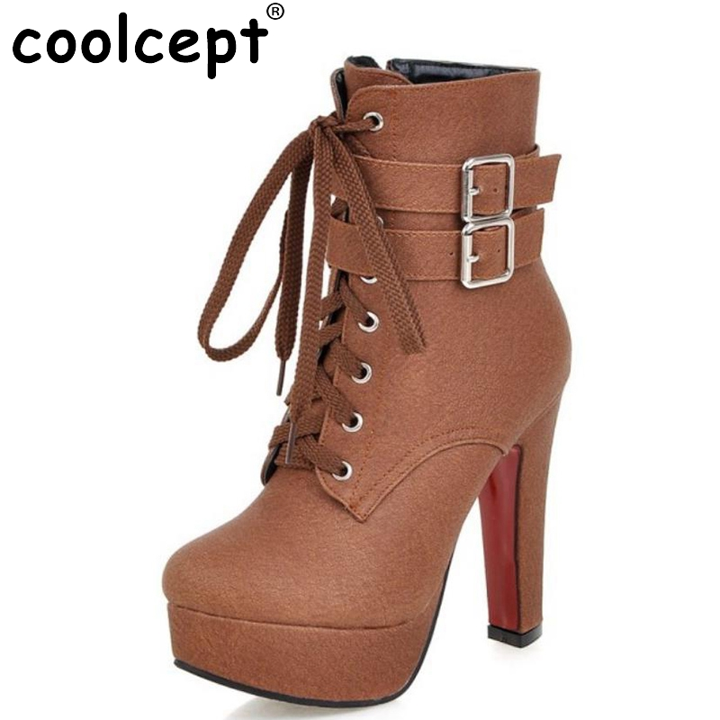 ФОТО NEW Fashion Women Boots 2017 High Heels Ankle Boots Platform Shoes Brand Women Shoes Autumn Winter Botas Mujer Size 30-48