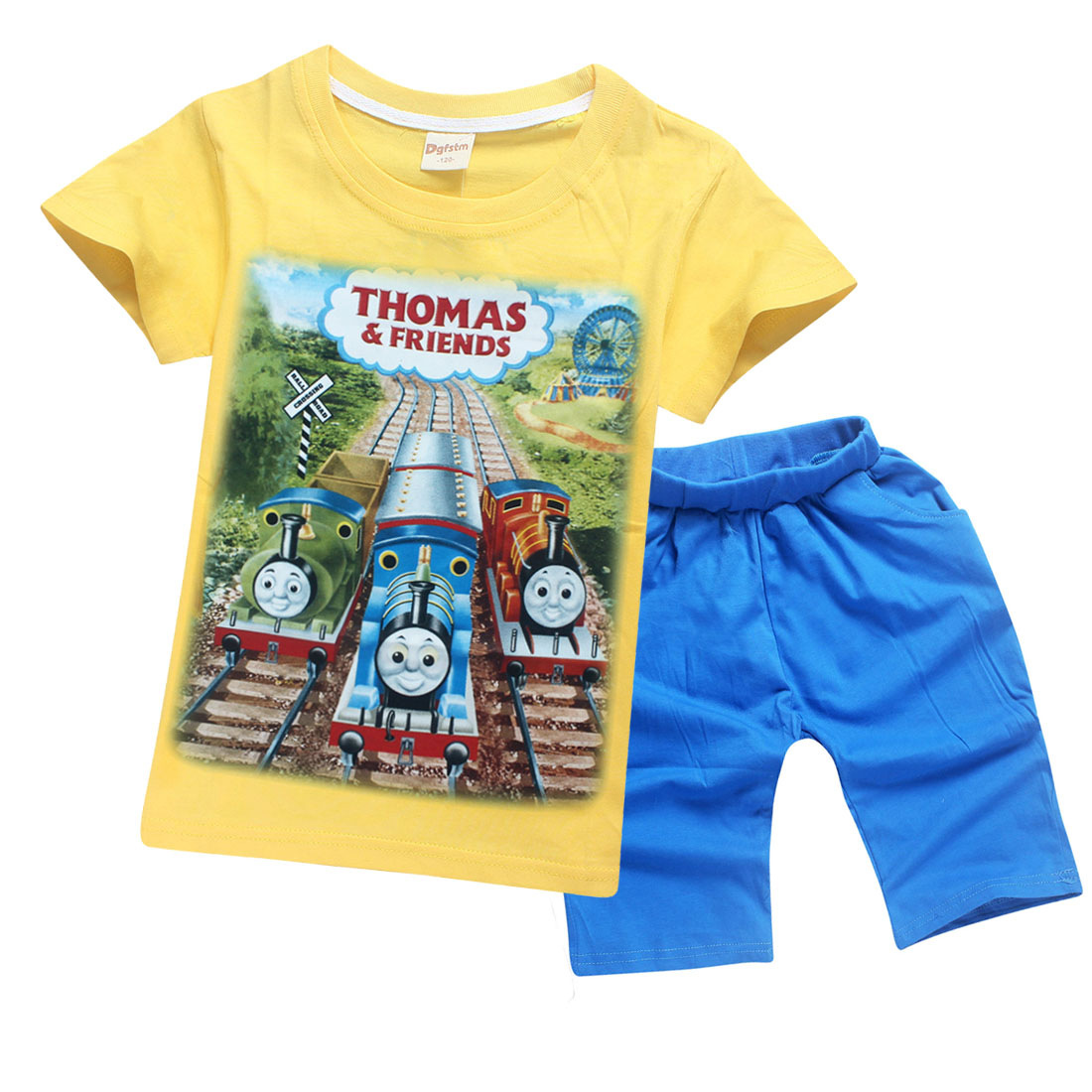 2018 New Years Thomas friend Children Kids Clothing Sets Summer Cotton Boys Short Sleeve Jeans Blouse and shirt Clothing Suits