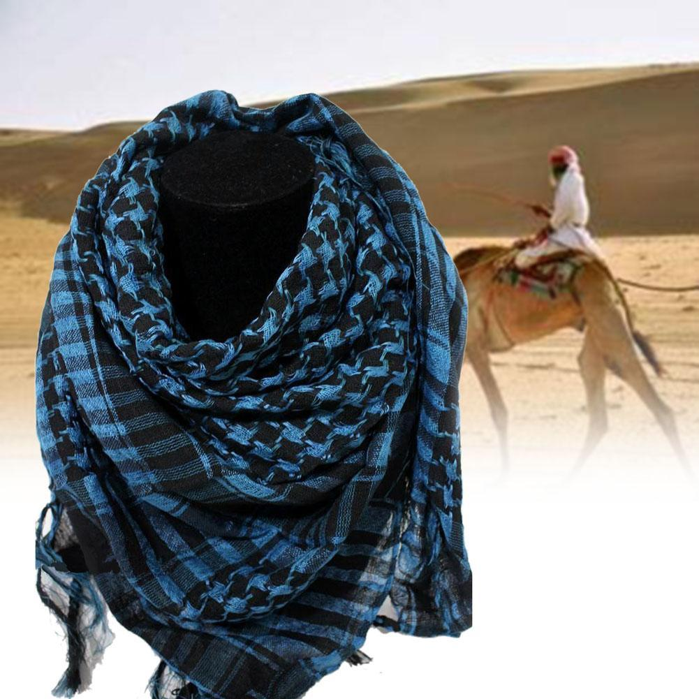 Military Windproof Winter Scarf Men Muslim Hijab Thin Shemagh Tactical Shawl Arabic Keffiyeh Scarves Cotton Fashion Blue S