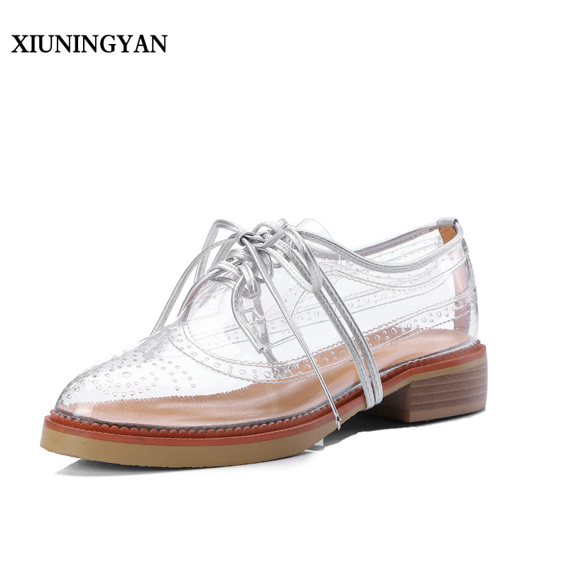 XIUNINGYAN Cow Leather New Spring Summer Brogue Shoes Woman Transparent Color Women Platform Oxfords Cut-outs Flat Casual Shoes ladies casual platform wedges oxford shoes for women metallic pu cut outs women high heels summer brogue oxfords shoes woman