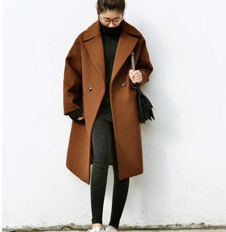 Brown Wool Coat With Pad Lining Warm Thick Casual Long Oversize ...