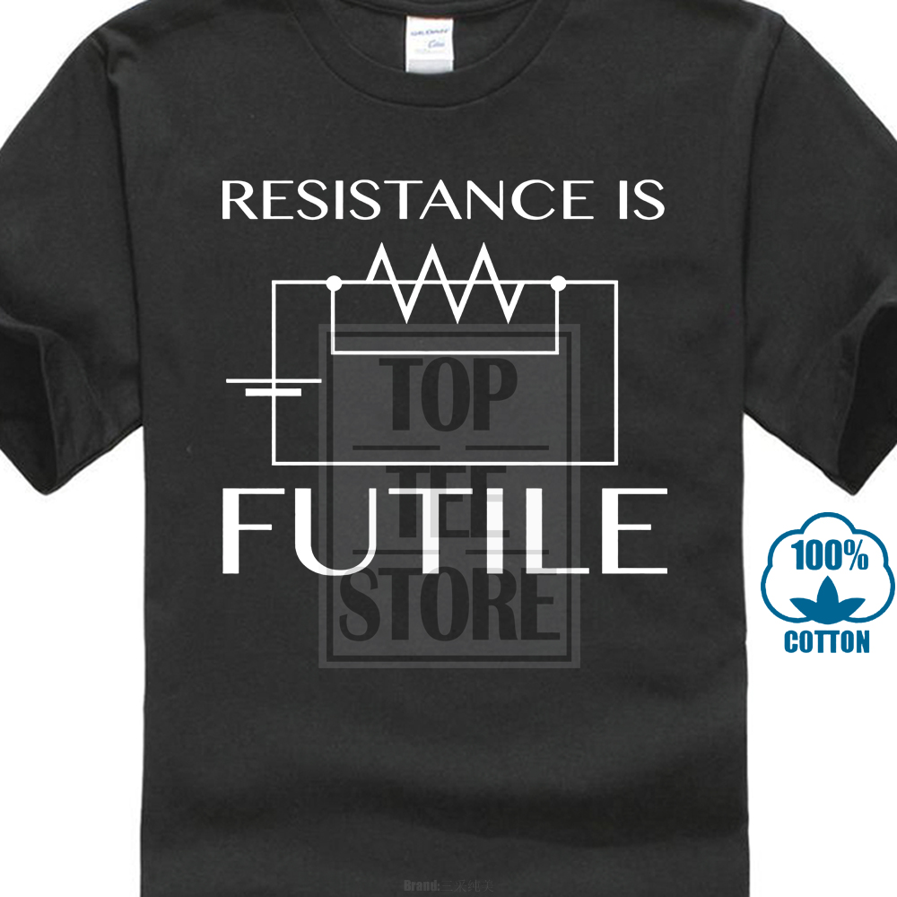 Gildan Resistance Is Futile T Shirt Top Electrotechnics Electrician Electronic Ohms Law Men Summer Short Sleeves Casual T Shirt