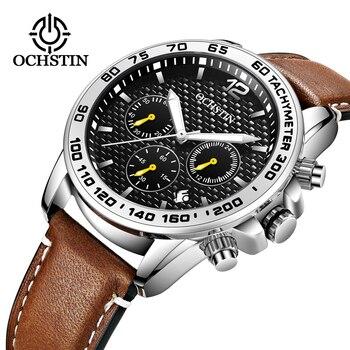 Luxury Top Brand OCHSTIN New Men's Chronograph Waterproof Date Sports Men's Leather Quartz Watch Male Clock Fashion Relogio 2019