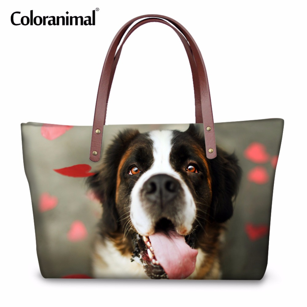 b04d7022429 Coloranimal Luxury Design Women Handbags Cute Puppy Dog Print Large  Capacity Neoprene Tote Bag Fashion Shopper