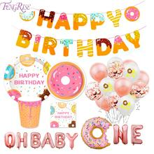 FENGRISE Donut Balloon Decoration 1st 1 Year Birthday Donuts Party Supplies Baby One Decor Kids