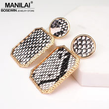 MANILAI ZA Vintage Leather Earrings For Women Geometric Snake Skin Print Dangle Earring Jewelry Female Metal Pendant Earrings(China)