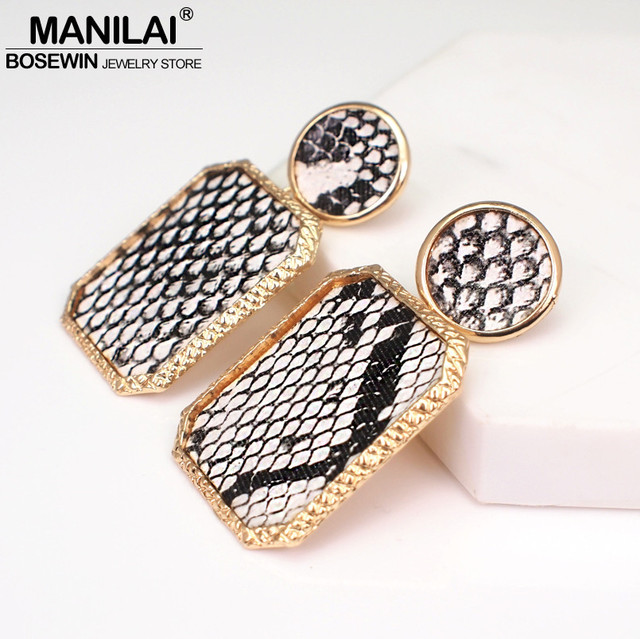 5f08fa2e030d Manilai za vintage leather earrings for women geometric snake skin print  dangle earring jewelry female metal