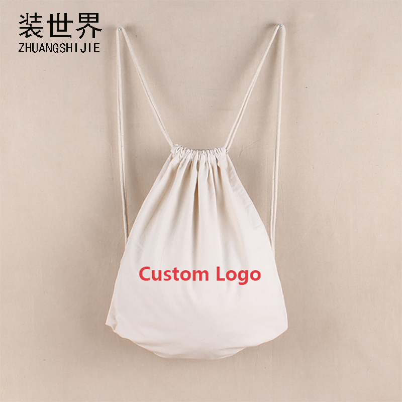 36cm*42cm Custom Logo Print Women Backpack Travel Softback Shopping  Bag Cotton Drawstring Bag Schoolbag Wholesale BP032