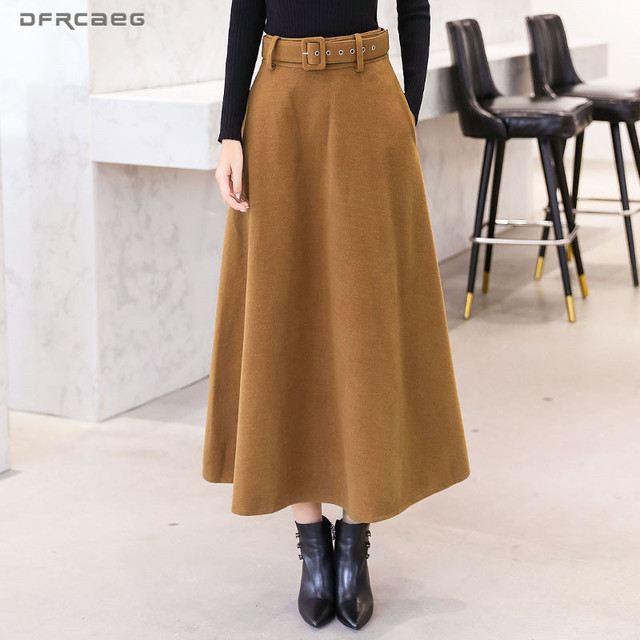 2020 Winter Woolen Maxi Skirts For Women Vintage With Belt High Waist Skirt Female Casual Streetwear Long Skirt Khaki Red Black