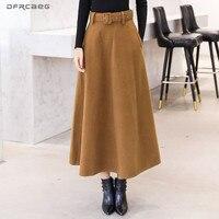 Winter Women's Wool Maxi Skirts With Belt 2018 Fashion Vintage Woolen Skirt Female Streetwear Casual Saia Longa Wine Red