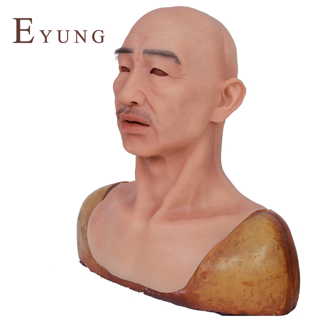 EYUNG Crease male party mask High Simulation mask Tricky props Top Grade Halloween Female Male Silicone masquerade full head