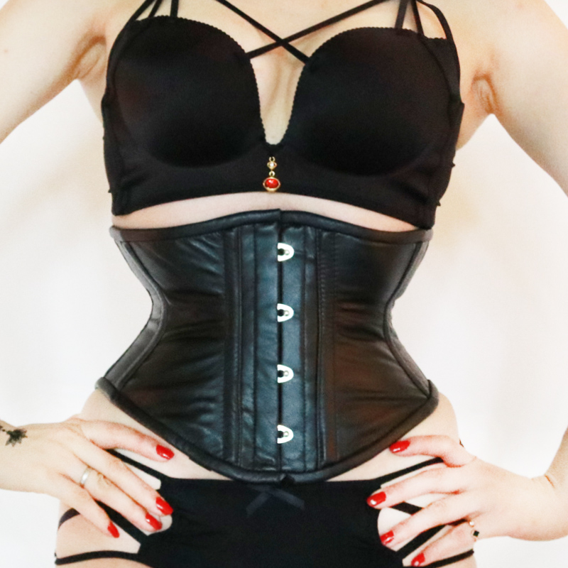 Fast Slim Waist 3 7 Inches Genuine Black Leather Corsett Plus Size Waist Cincher Corset For