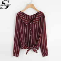 Sheinside Burgundy Vertical Striped Knotted Shirt Women Button Casual Top 2018 Spring Office Work Long Sleeve