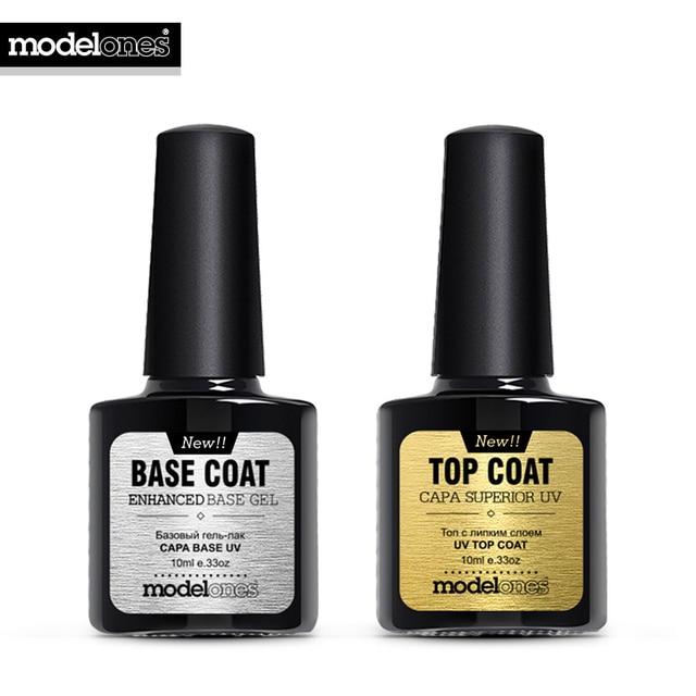 Modelones New Nail Gel Polish Soak Off UV Top Coat + Base Coat Gel Polish Long-lasting 10ml Nail Gel Lacquer