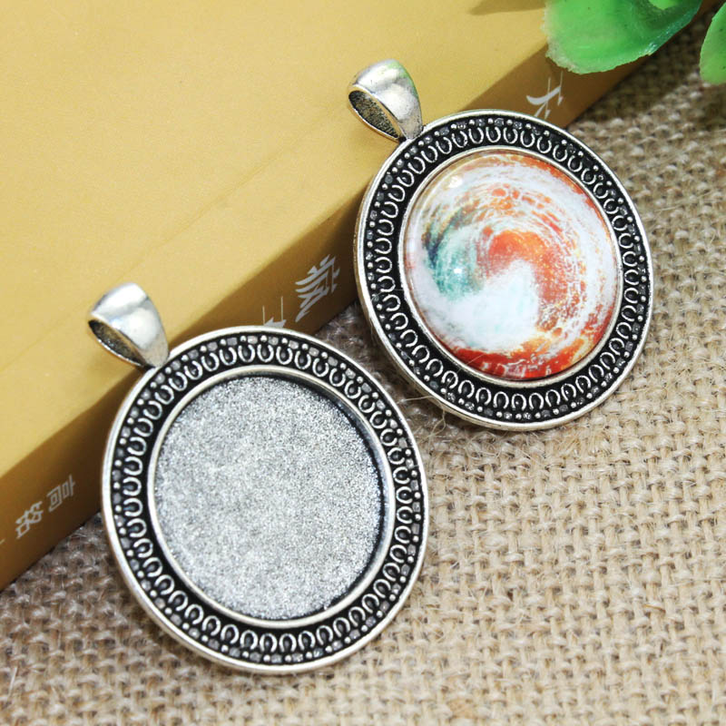 5pcs 25mm Inner Size Zinc alloy Bohemian style Silver Pendant Cameo Cabochon Base Setting F-020201 unique wolf head style zinc alloy car decorative sticker silver