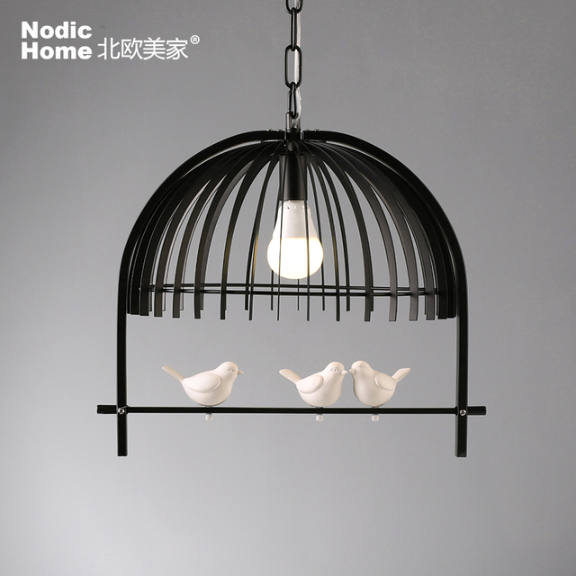 Nordic New RH Birdcage Pendant Lamp American Country Vintage Industrial  Kitchen Lights Fixtures Modern Iron Luminaire