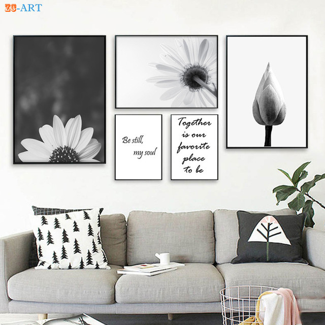 Framed Black and White floral Wall Art Lotus Quote Prints Flowers ...