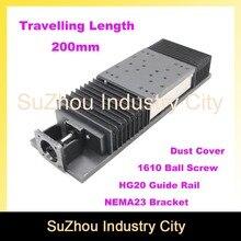 Reisen Länge 200mm schiebetisch mit staub schutz abdeckung Chinesischen HG 20 Linearführungsschiene lineare bewegung Kugelgewinde 1610